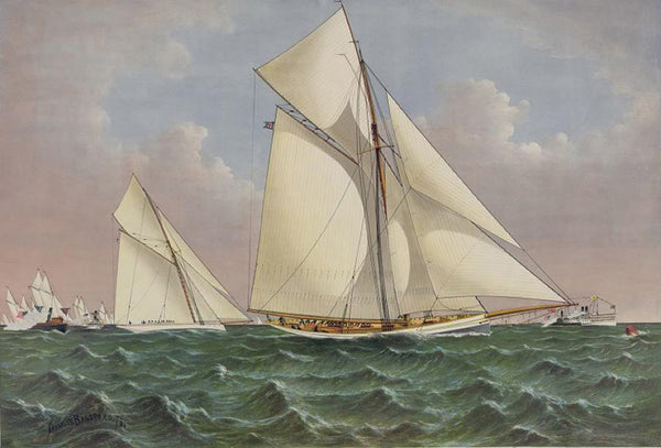 "Mayflower saluted by the fleet: crossing the bow of ""Galatea"" on the fourth tack in the first race for ""The Americas Cup"" over the inside course New York Bay Sept. 7th 1886"