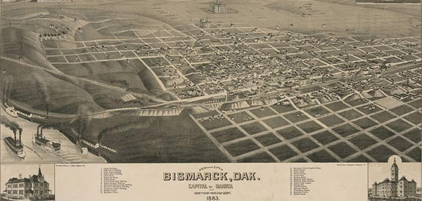 View of the city of Bismarck Dak. capital of Dakota and county seat of Burleigh County. 1883