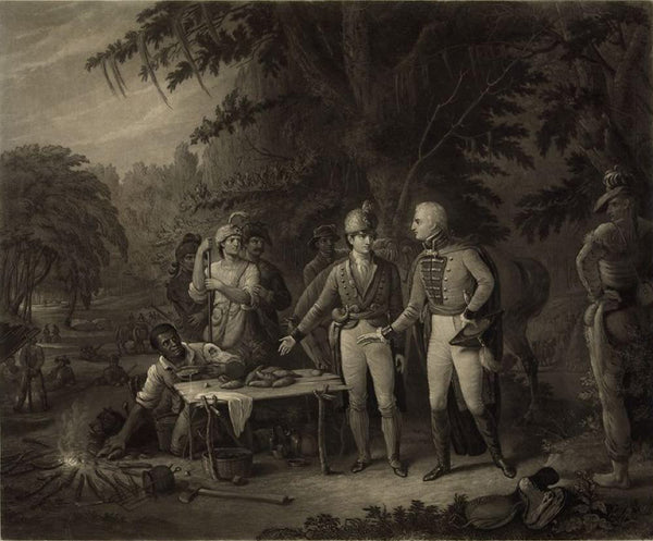 Gen. Marion in his swamp encampment inviting a British officer to dinner