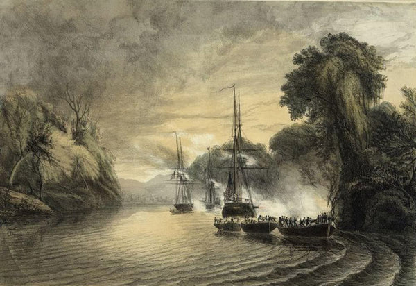 The attack of the Mexicans from the chapperal on the first division of the naval expedition to Tabasco Mexico