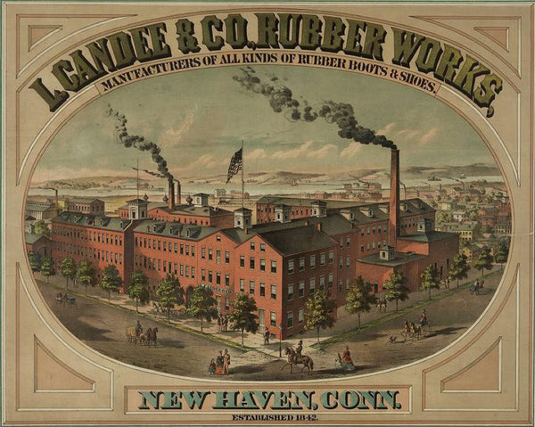 L. Candee & Co. Rubber Works manufacturers of all kinds of rubber boots & shoes. New Haven Conn. established 1842