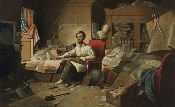 President Lincoln writing the Proclamation of Freedom. January 1st 1863