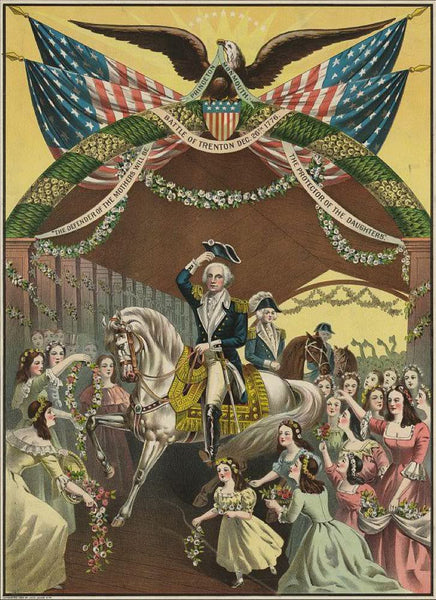 Washington's reception by the ladies on passing the bridge at Trenton N.J. April 1789 on his way to New York to be inaugurated first president of the United States