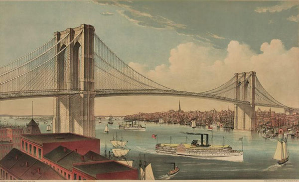 The great East River suspension bridge: connecting the cities of New York and Brooklyn looking west