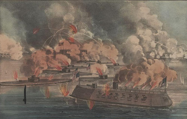 "The great fight at Charleston S.C. April 7th 1863: between 9 United States ""Iron-Clads"" under the command of Admiral Dupont; and Forts Sumter Moultrie and the Cummings Point Batteries in possession of the rebels"