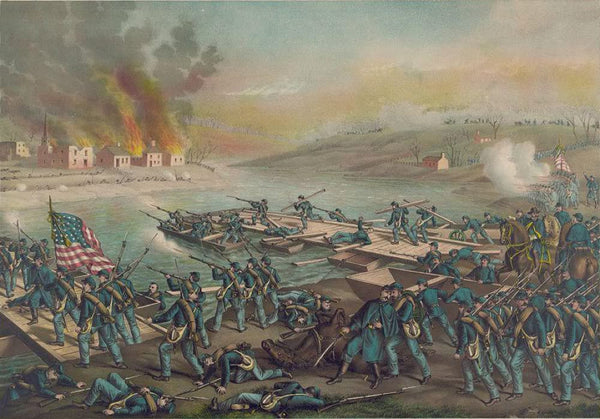 Battle of Fredericksburg--the Army o.t. Potomac crossing the Rappahannock in the morning of Dec. 13' 1862 under t. comd. of Gen's Burnside Sumner Hooker & Franklin