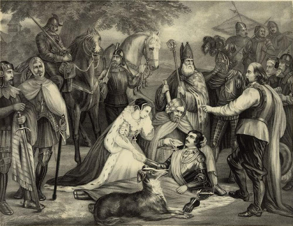 Mary of Scotland mourning over the dying Douglas at the Battle of Langside 1568
