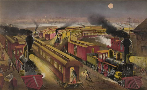 "Night scene at an American railway junction: Lightning Express Flying Mail and Owl Trains ""on time"""