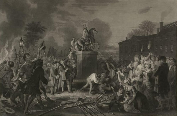"Pulling down the statue of George III by the ""Sons of Freedom"" at the Bowling Green City of New York July 1776"