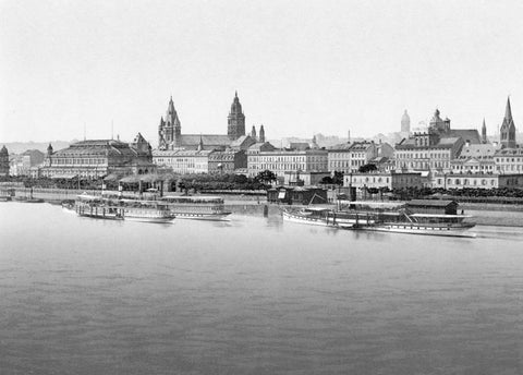 Mainz from Rhine Bridge the Rhine Germany