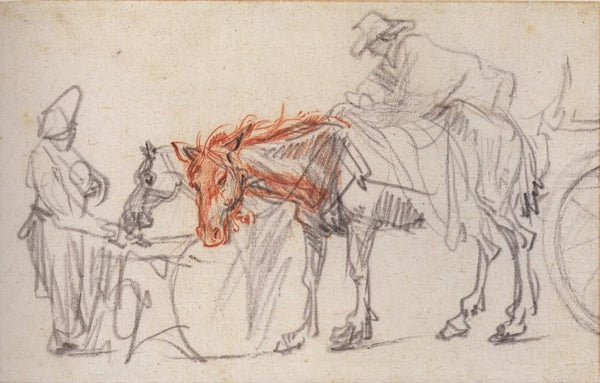 Two horses at a halt by Rembrandt