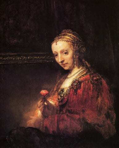 Woman with a pink flower by Rembrandt