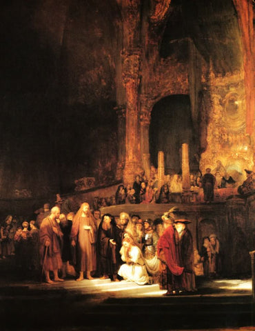 Christ and the adulteress by Rembrandt