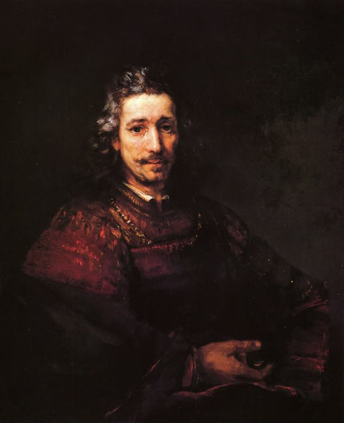 Man with a magnifying glass by Rembrandt