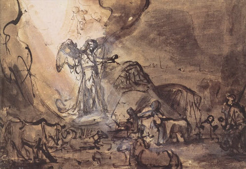 An angel appearing to the shepherds by Rembrandt