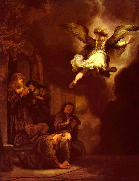 The angel leaves the family of Tobias by Rembrandt