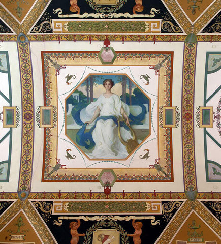 [South Corridor Second floor. Mural depicting one of the three graces Thalia (Music) by Frank Weston Benson. Library of Congress Thomas Jefferson Building Washington D.C.]