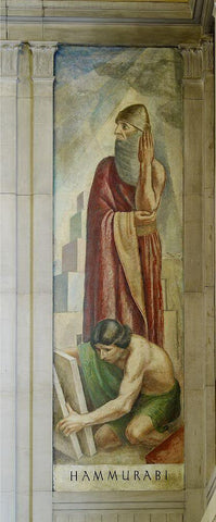 "Oil painting ""Hammurabi"" stairway of Great Hall Department of Justice Washington D.C."