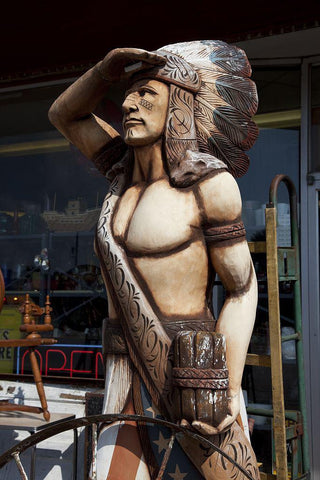 Wooden indian statue at antique store in Florence Alabama