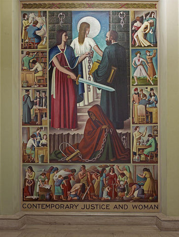 "Oil painting ""Contemporary Justice and Woman"" first floor lobby Department of Justice Washington D.C."