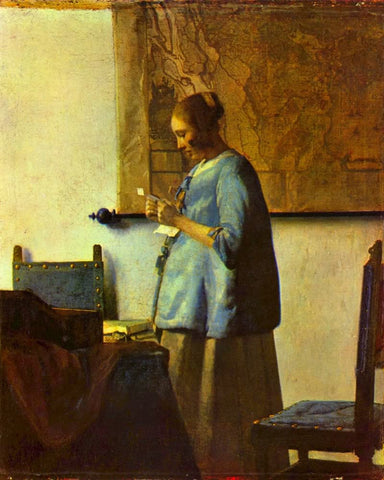 Woman in Blue Reading a Letter (1664) by Johannes Vermeer