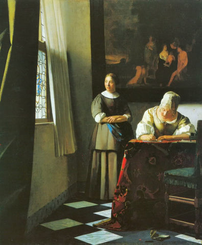 Lady Writing a Letter with her Maid (1671) by Johannes Vermeer