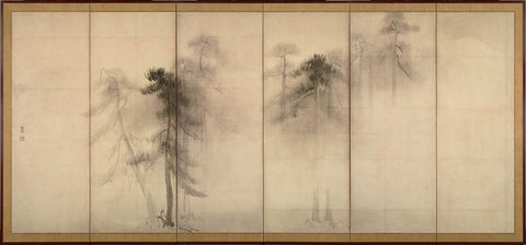 Pine Trees (16th c.) by Hasegawa Tohaku (left panel)