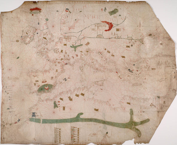 Nautical chart of the Mediterranean area  including Europe with British Isles and part of Scandinavia. HM 1548. anonymous  PORTOLAN CHART (Italy  15th century).A