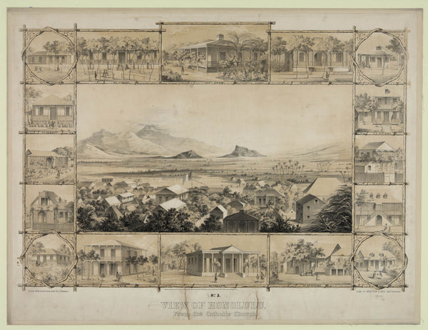 No. 5. View of Honolulu. From the Catholic church. (c. 1854)