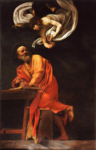 The Inspiration of Saint Matthew (1602) by Caravaggio