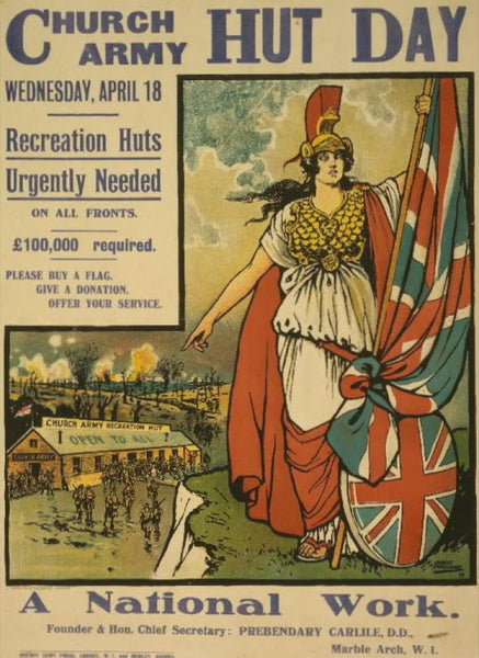 Church army hut day Wednesday April 18. Recreation huts urgently needed on all fronts. \[Sterling]100000 required. Please buy a flag. Give a donation. Offer your service. A national work