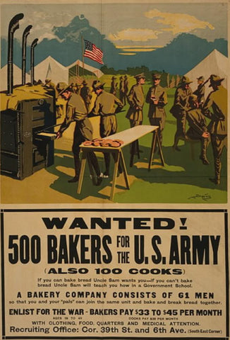 Wanted! 500 bakers for the U.S. Army (also 100 cooks)