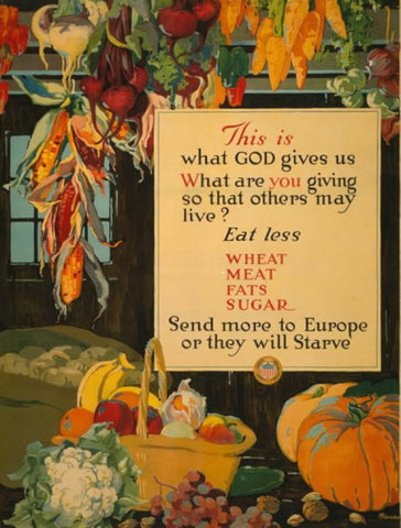 This is what God gives us - what are you giving so that others may live? Eat less wheat meat fats sugar - send more to Europe or they will starve /