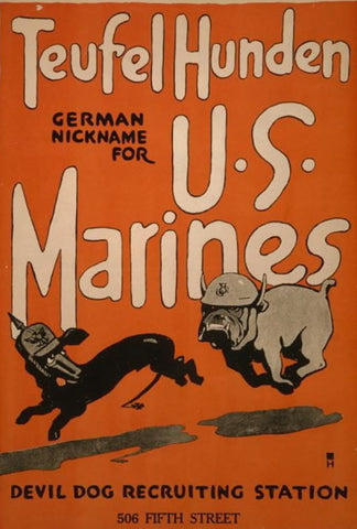 Teufel hunden German nickname for U.S. Marines Devil dog recruiting station 506 Fifth Street /
