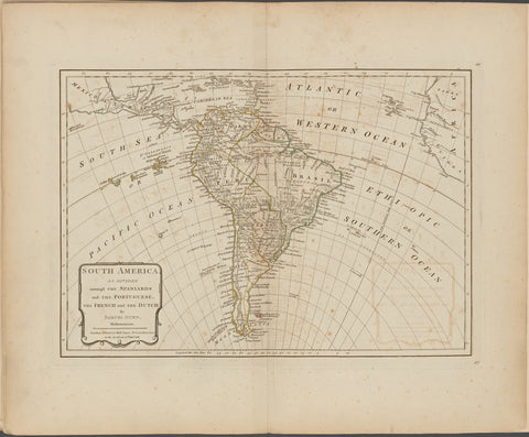 South America as divided amongst the Spaniards and the Portuguese, the French and the Dutch
