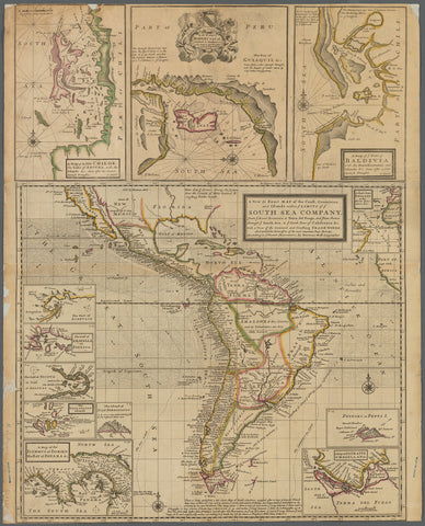 A new & exact map of the coast, countries and islands within ye limits of ye South Sea Company
