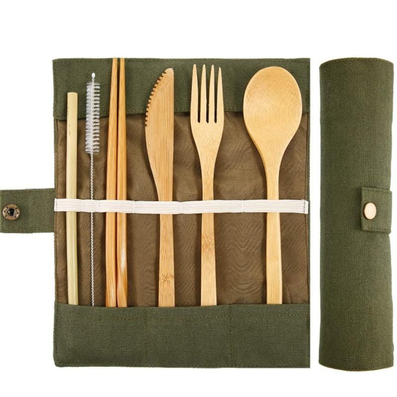 7pc Bamboo Cutlery Set