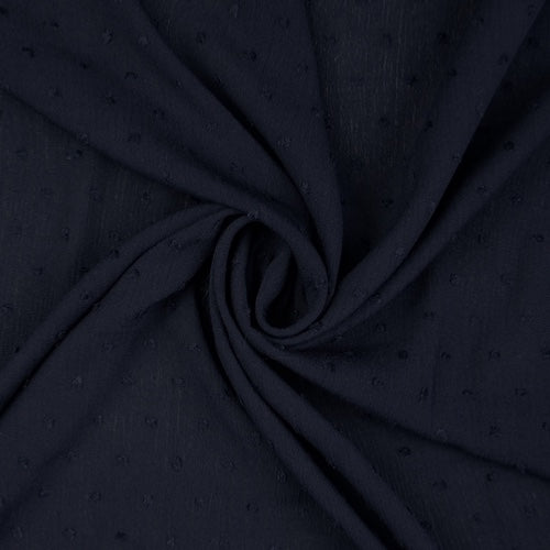 Lucerne Dark Navy Crinkle Swiss Dot Viscose