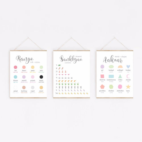 Trio of Posters: Colors, Shapes, Numbers • Gujarati | Hindi
