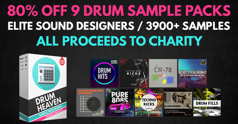 FLASH SALE: 80% Off 9 Drum Sample Packs (3,954 Samples) from Wave Alchemy, Black Octopus, Cr2 + More Sample Gurus, All Proceeds to Charity