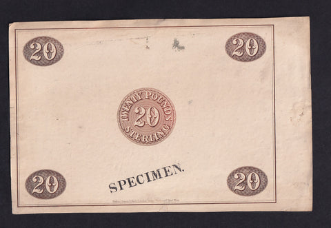 Perkins Bacon & Petch , Scotland ? £20 (1841) Reverse proof possibly Union Bank VG/F
