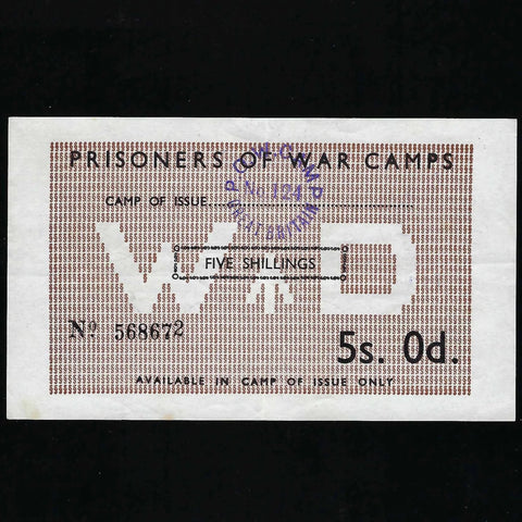 5/- POW Camps in UK for Axis, Wapley Camp, Campbell 5020 (dated to 11.11.1945) EF