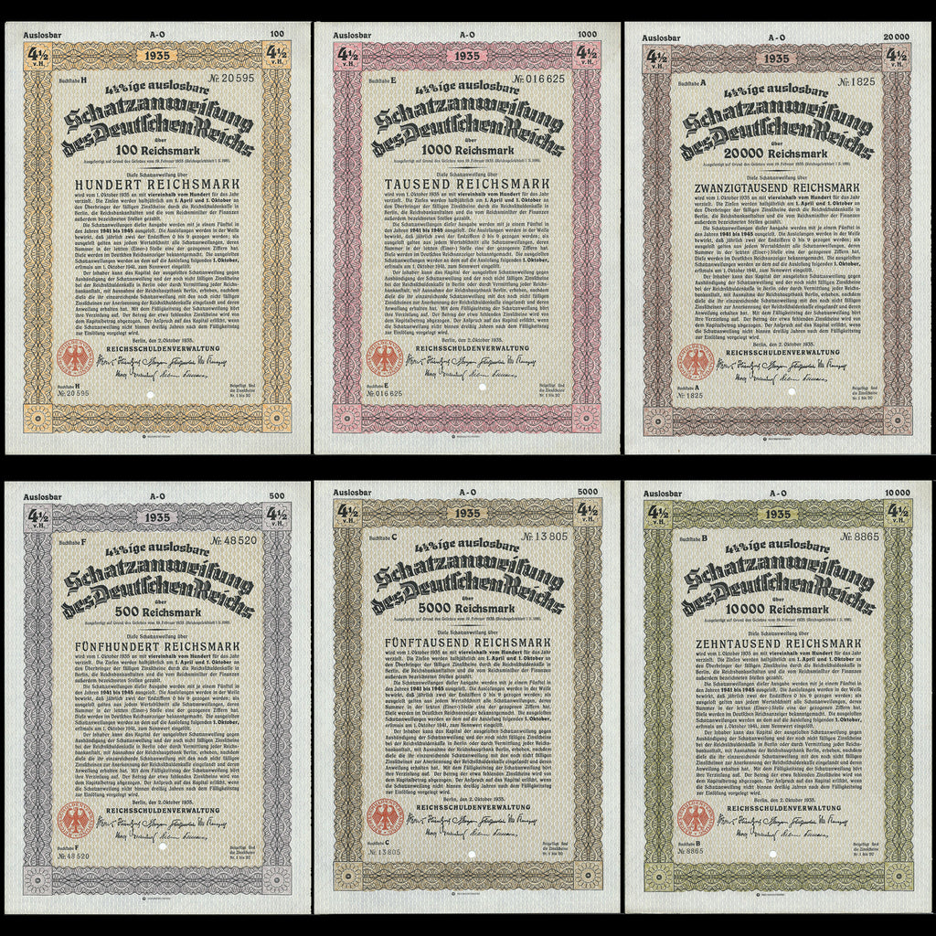 Nazi Germany - price for 6 bonds, Schatzanweisung des Deutschen Reichs (1935) 100, 500, 1000, 5000, 10000, 20000 RM - Colin Narbeth & Son Ltd.