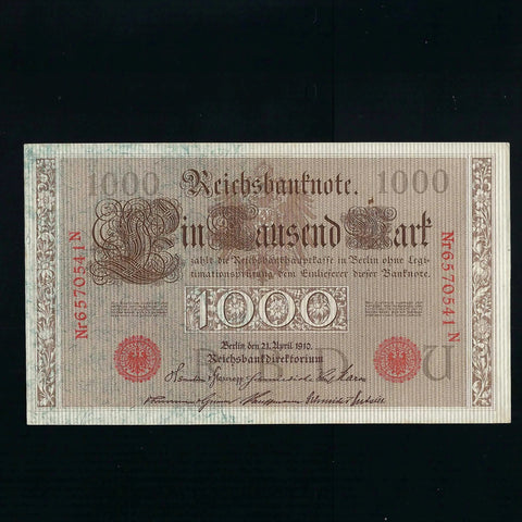 P.45b Germany 1000 Mark (21.04.1910) 7 digits and red serial, Good EF