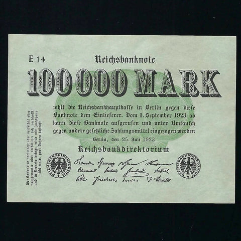 P. 91a Germany 100,000 Mark (1923) Good EF