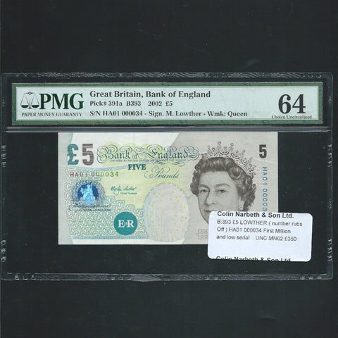B.393 Lowther £5, first million & low number, HA01 000034 (number rubs off) UNC