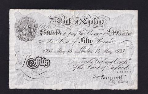 B244 £50 Peppiatt ( 15.05.1935) 54N 89943 Genuine note  ( an attractive vf , a few very small holes on fold mark scarce )