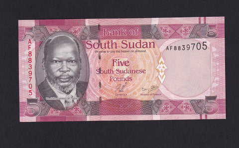 P.6 South Sudan 5 Sudanese Pounds (2011) UNC