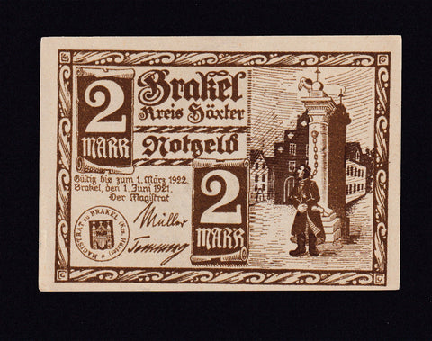 ANTI SEMITIC 2 MARK NOTGELD BRAKEL 1922 , some rust VF