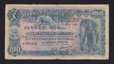 P10a ETHIOPIA 100 THALERS ( 01.05.1932) Sig 1 First date note D/1 01071 FINE